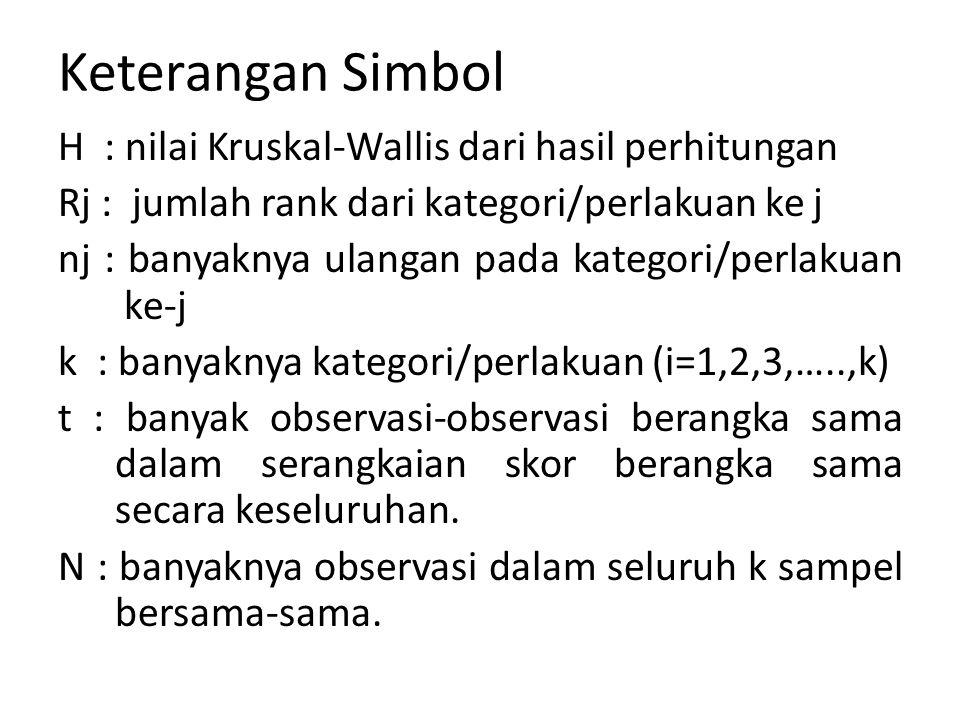 Keterangan Simbol H : nilai Kruskal-Wallis dari hasil perhitungan Rj : jumlah rank dari kategori/perlakuan ke j nj : banyaknya ulangan pada kategori/p