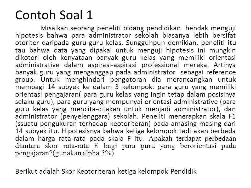 Contoh Soal 1 Misalkan seorang peneliti bidang pendidikan hendak menguji hipotesis bahwa para administrator sekolah biasanya lebih bersifat otoriter d