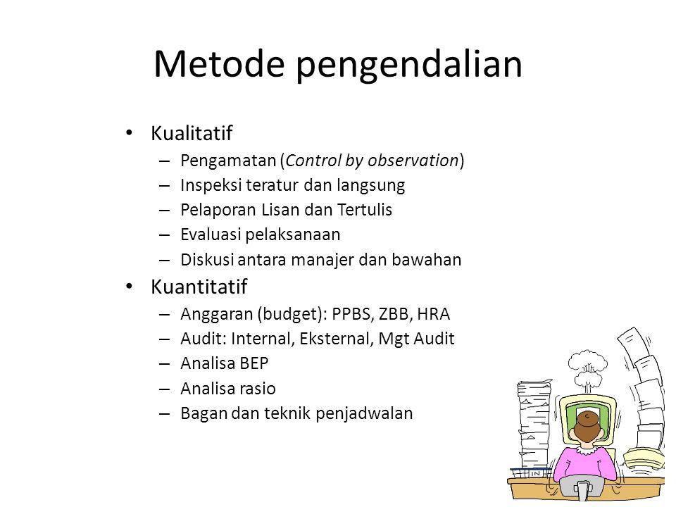 Metode pengendalian Kualitatif – Pengamatan (Control by observation) – Inspeksi teratur dan langsung – Pelaporan Lisan dan Tertulis – Evaluasi pelaksanaan – Diskusi antara manajer dan bawahan Kuantitatif – Anggaran (budget): PPBS, ZBB, HRA – Audit: Internal, Eksternal, Mgt Audit – Analisa BEP – Analisa rasio – Bagan dan teknik penjadwalan