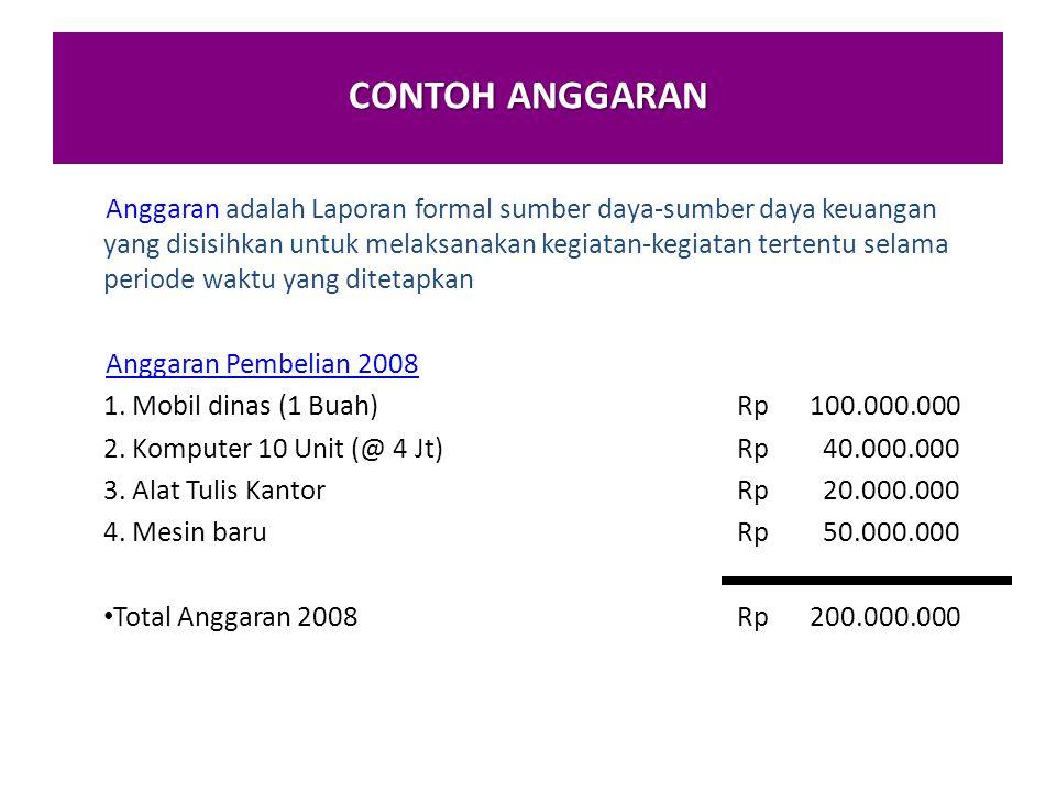 CONTOH ANGGARAN Anggaran adalah Laporan formal sumber daya-sumber daya keuangan yang disisihkan untuk melaksanakan kegiatan-kegiatan tertentu selama periode waktu yang ditetapkan Anggaran Pembelian 2008 1.