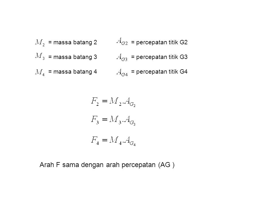 = massa batang 2 = percepatan titik G2 = massa batang 3 = percepatan titik G3 = massa batang 4 = percepatan titik G4 Arah F sama dengan arah percepatan (AG )