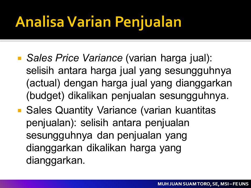 MUH JUAN SUAM TORO, SE, MSI – FE UNS  Sales Price Variance (varian harga jual): selisih antara harga jual yang sesungguhnya (actual) dengan harga jua