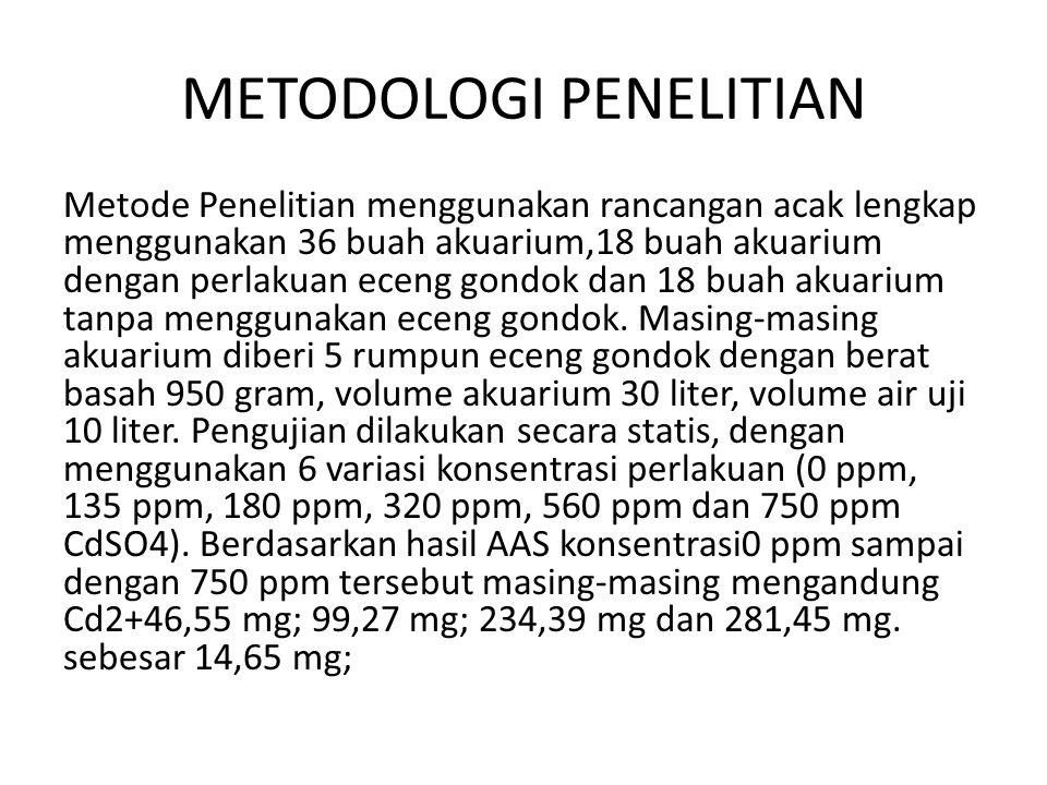 METODOLOGI PENELITIAN Metode Penelitian menggunakan rancangan acak lengkap menggunakan 36 buah akuarium,18 buah akuarium dengan perlakuan eceng gondok