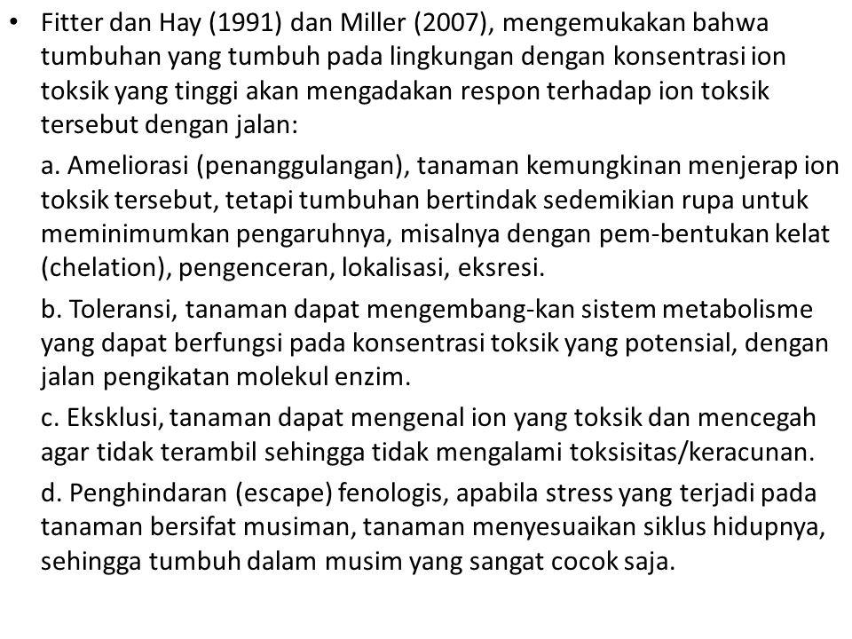Fitter dan Hay (1991) dan Miller (2007), mengemukakan bahwa tumbuhan yang tumbuh pada lingkungan dengan konsentrasi ion toksik yang tinggi akan mengad