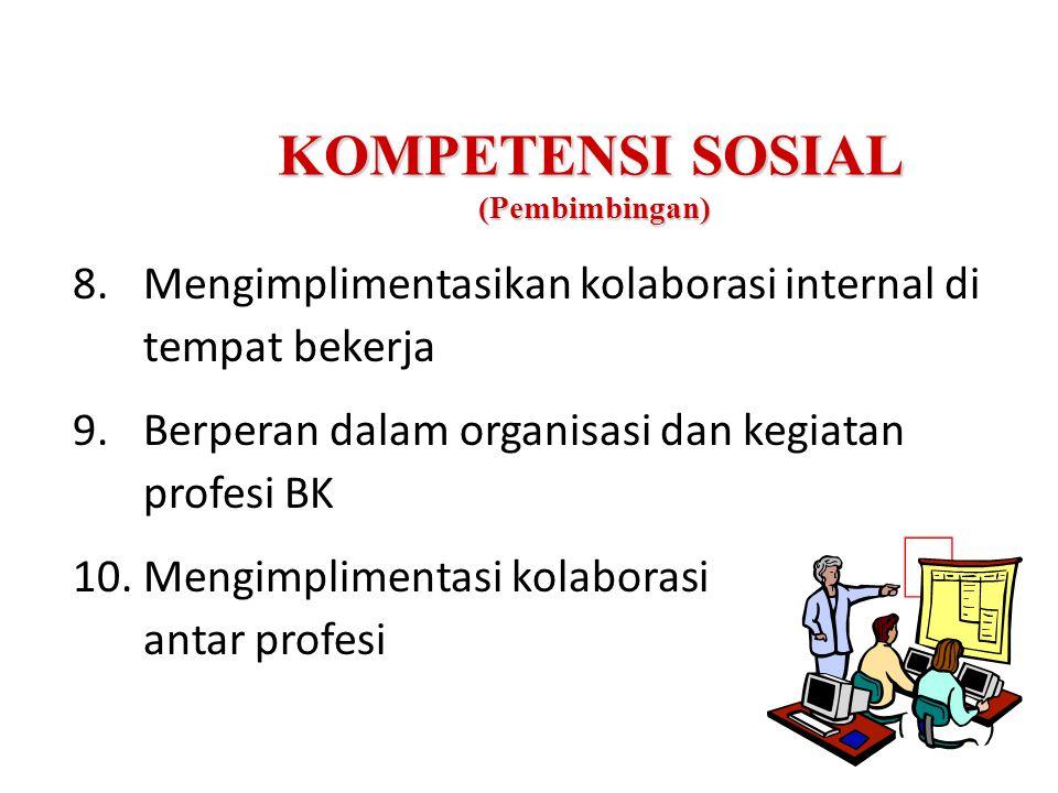 KOMPETENSI SOSIAL (Pembimbingan) 8.Mengimplimentasikan kolaborasi internal di tempat bekerja 9.Berperan dalam organisasi dan kegiatan profesi BK 10.Mengimplimentasi kolaborasi antar profesi 