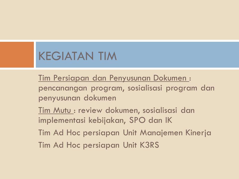 Tim Persiapan dan Penyusunan Dokumen : pencanangan program, sosialisasi program dan penyusunan dokumen Tim Mutu : review dokumen, sosialisasi dan impl