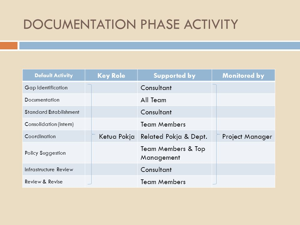 DOCUMENTATION PHASE ACTIVITY Default Activity Key RoleSupported byMonitored by Gap Identification Consultant Documentation All Team Standard Establish