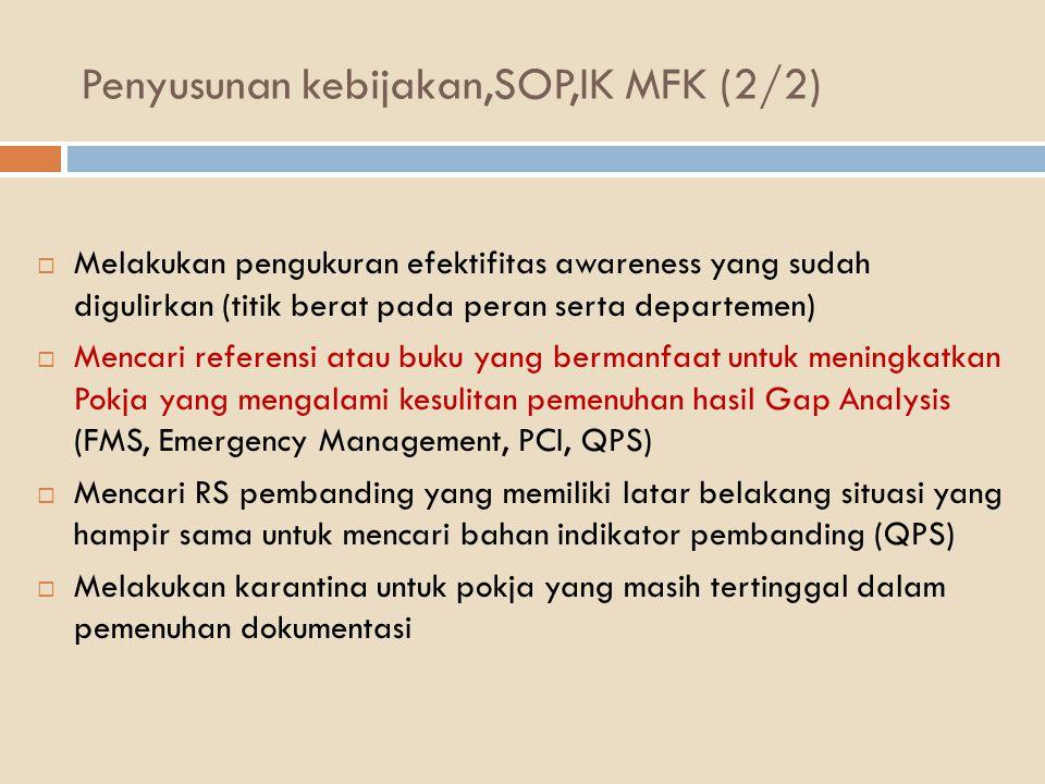 Penyusunan kebijakan,SOP,IK MFK (2/2)  Melakukan pengukuran efektifitas awareness yang sudah digulirkan (titik berat pada peran serta departemen)  M
