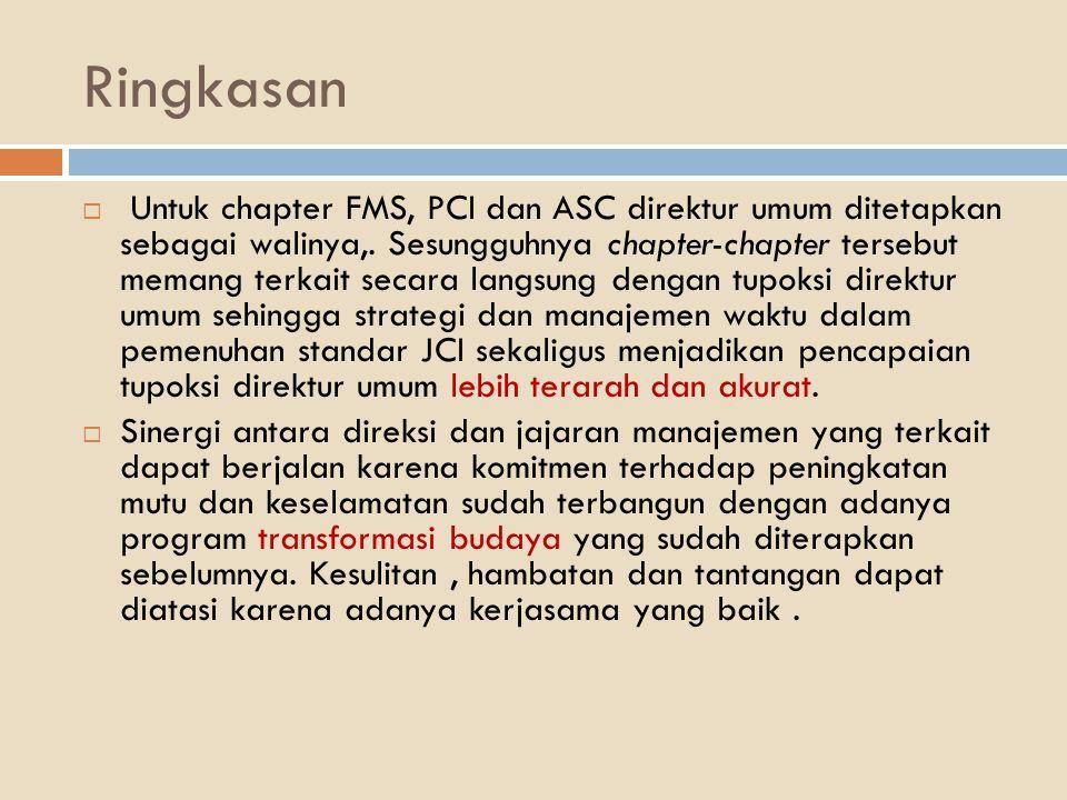 Ringkasan  Untuk chapter FMS, PCI dan ASC direktur umum ditetapkan sebagai walinya,. Sesungguhnya chapter-chapter tersebut memang terkait secara lang