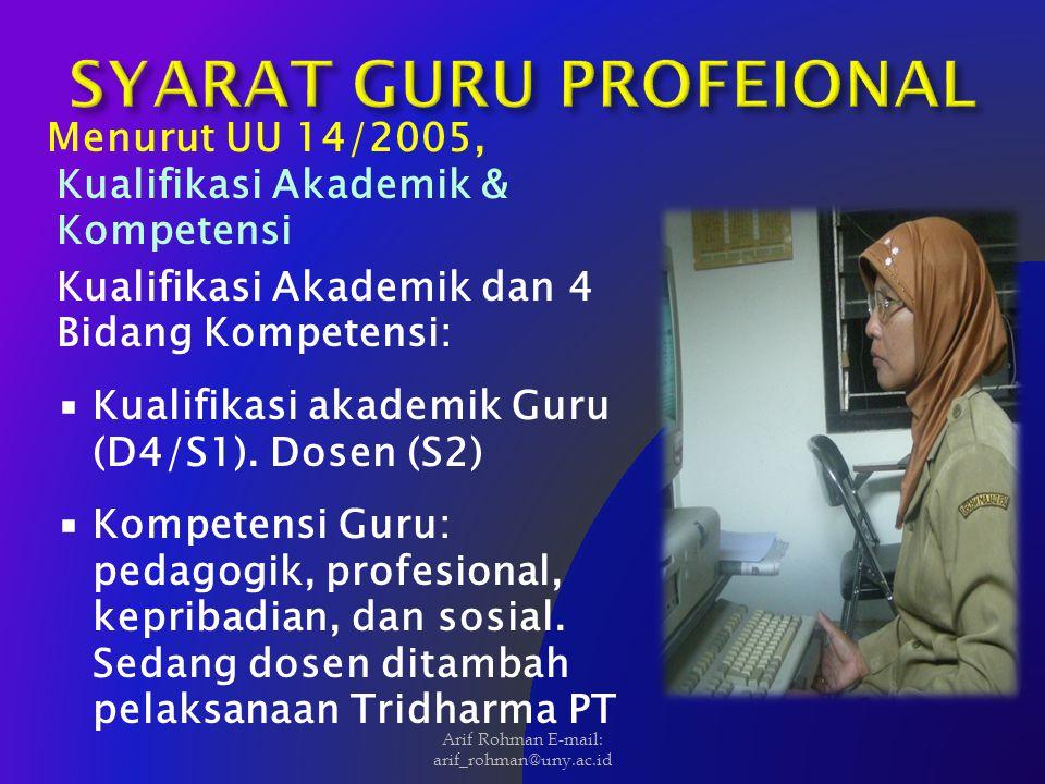 Menurut UU 14/2005, Kualifikasi Akademik & Kompetensi Kualifikasi Akademik dan 4 Bidang Kompetensi:  Kualifikasi akademik Guru (D4/S1). Dosen (S2) 