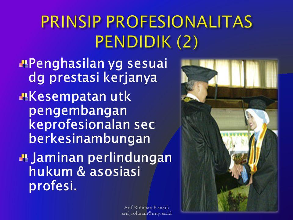 Penghasilan yg sesuai dg prestasi kerjanya Kesempatan utk pengembangan keprofesionalan sec berkesinambungan Jaminan perlindungan hukum & asosiasi prof