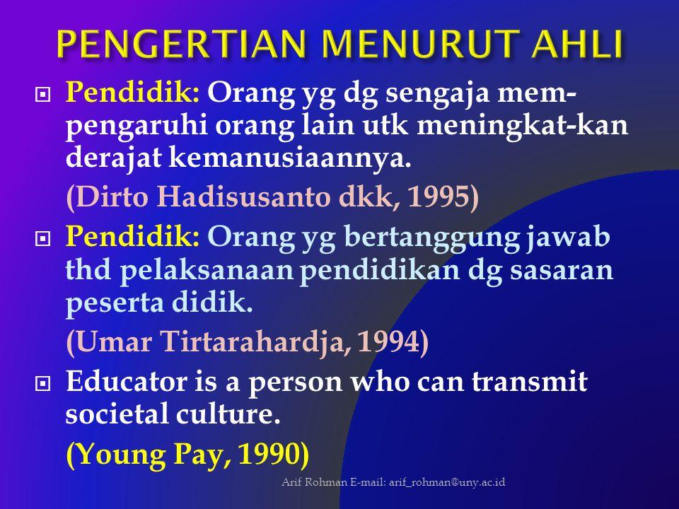  Pendidik: Orang yg dg sengaja mem- pengaruhi orang lain utk meningkat-kan derajat kemanusiaannya. (Dirto Hadisusanto dkk, 1995)  Pendidik: Orang yg