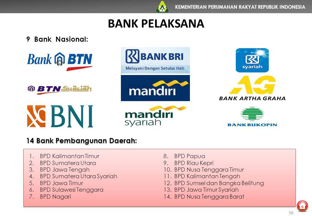 KEMENTERIAN PERUMAHAN RAKYAT REPUBLIK INDONESIA 9 Bank Nasional: BANK PELAKSANA 1.BPD Kalimantan Timur 2.BPD Sumatera Utara 3.BPD Jawa Tengah 4.BPD Su