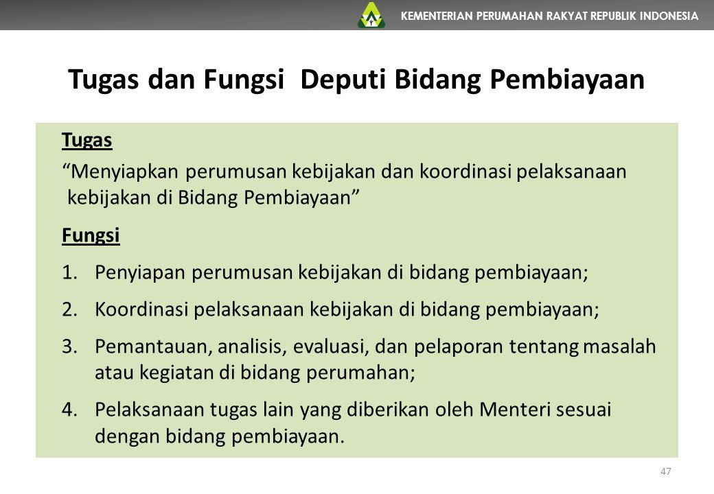 "KEMENTERIAN PERUMAHAN RAKYAT REPUBLIK INDONESIA Tugas dan Fungsi Deputi Bidang Pembiayaan Tugas ""Menyiapkan perumusan kebijakan dan koordinasi pelaksa"