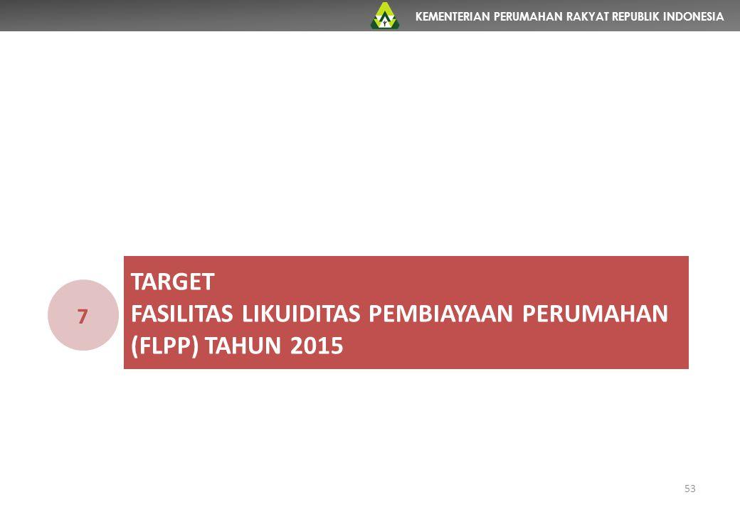 KEMENTERIAN PERUMAHAN RAKYAT REPUBLIK INDONESIA TARGET FASILITAS LIKUIDITAS PEMBIAYAAN PERUMAHAN (FLPP) TAHUN 2015 7 53