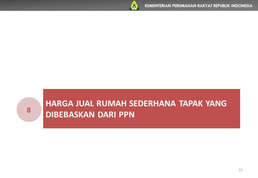 KEMENTERIAN PERUMAHAN RAKYAT REPUBLIK INDONESIA HARGA JUAL RUMAH SEDERHANA TAPAK YANG DIBEBASKAN DARI PPN 8 55
