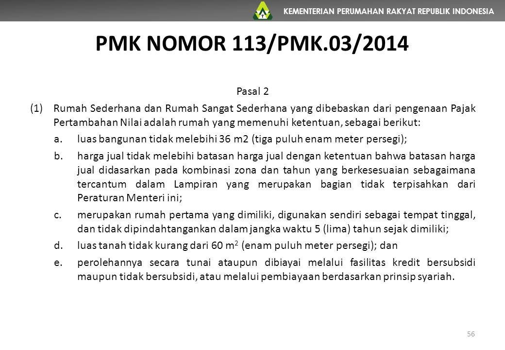 KEMENTERIAN PERUMAHAN RAKYAT REPUBLIK INDONESIA PMK NOMOR 113/PMK.03/2014 56 Pasal 2 (1)Rumah Sederhana dan Rumah Sangat Sederhana yang dibebaskan dar