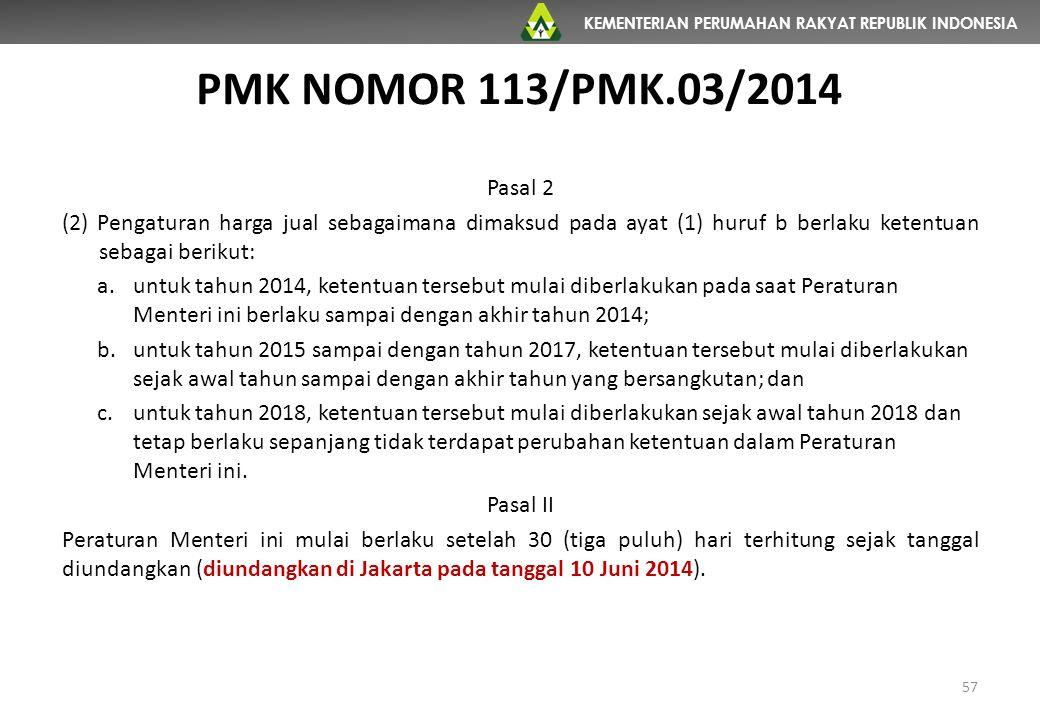 KEMENTERIAN PERUMAHAN RAKYAT REPUBLIK INDONESIA PMK NOMOR 113/PMK.03/2014 57 Pasal 2 (2) Pengaturan harga jual sebagaimana dimaksud pada ayat (1) huru