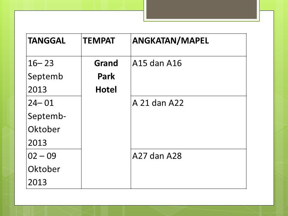 TANGGALTEMPATANGKATAN/MAPEL 16– 23 Septemb 2013 Grand Park Hotel A15 dan A16 24– 01 Septemb- Oktober 2013 A 21 dan A22 02 – 09 Oktober 2013 A27 dan A28