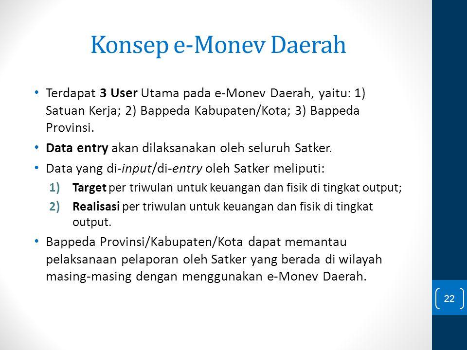 Konsep e-Monev Daerah Terdapat 3 User Utama pada e-Monev Daerah, yaitu: 1) Satuan Kerja; 2) Bappeda Kabupaten/Kota; 3) Bappeda Provinsi. Data entry ak