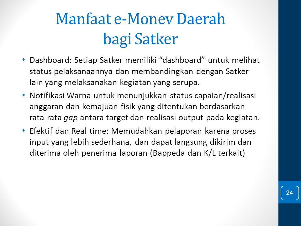 """Manfaat e-Monev Daerah bagi Satker Dashboard: Setiap Satker memiliki """"dashboard"""" untuk melihat status pelaksanaannya dan membandingkan dengan Satker l"""