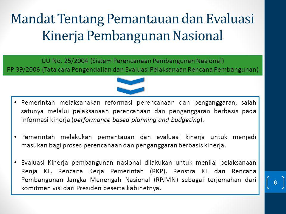 Mandat Tentang Pemantauan dan Evaluasi Kinerja Pembangunan Nasional Pemerintah melaksanakan reformasi perencanaan dan penganggaran, salah satunya mela