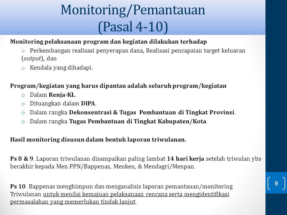 Monitoring pelaksanaan program dan kegiatan dilakukan terhadap o Perkembangan realisasi penyerapan dana, Realisasi pencapaian target keluaran (output)