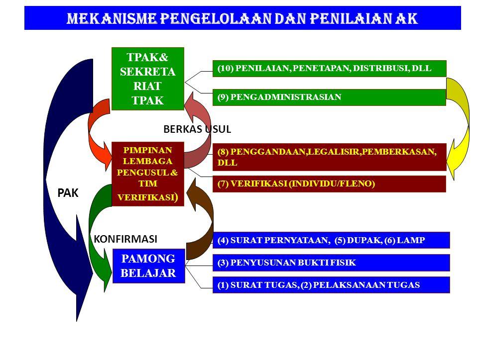 MEKANISME PENGELOLAAN DAN PENILAIAN AK TPAK& SEKRETA RIAT TPAK PIMPINAN LEMBAGA PENGUSUL & TIM VERIFIKASI ) PAMONG BELAJAR (10) PENILAIAN, PENETAPAN, DISTRIBUSI, DLL (9) PENGADMINISTRASIAN (8) PENGGANDAAN,LEGALISIR,PEMBERKASAN, DLL (7) VERIFIKASI (INDIVIDU/FLENO) (4) SURAT PERNYATAAN, (5) DUPAK, (6) LAMP (3) PENYUSUNAN BUKTI FISIK (1) SURAT TUGAS, (2) PELAKSANAAN TUGAS BERKAS USUL KONFIRMASI PAK