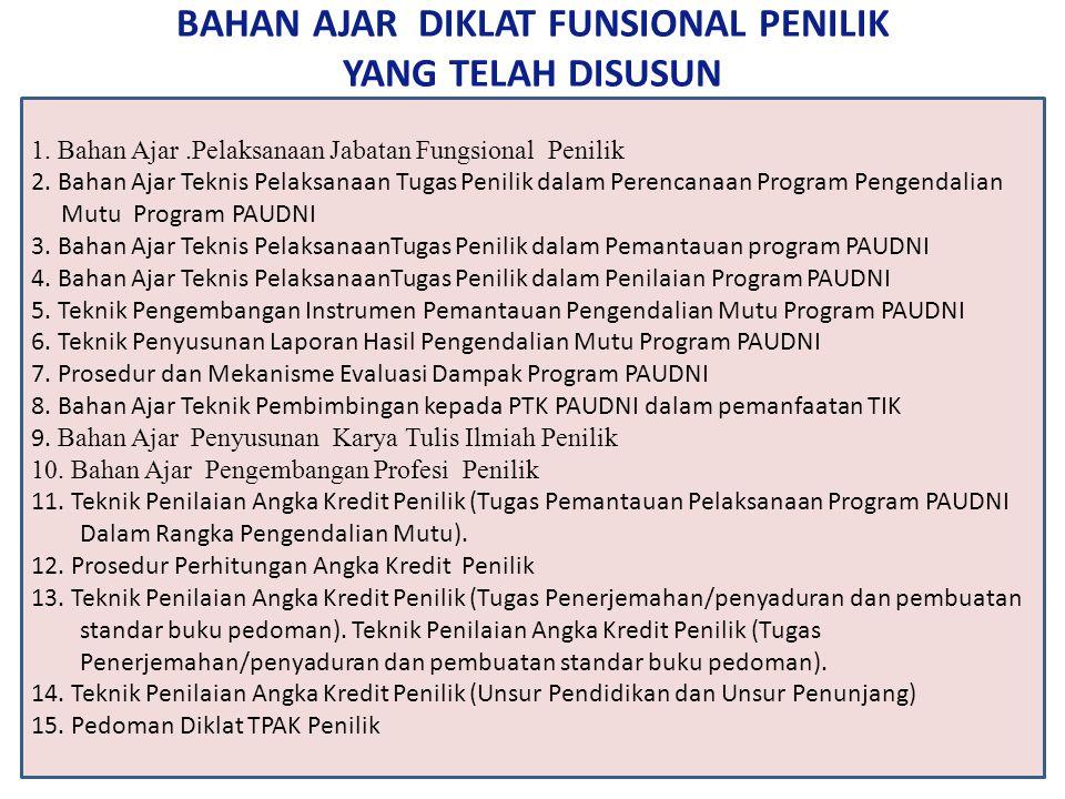 BAHAN AJAR DIKLAT FUNSIONAL PENILIK YANG TELAH DISUSUN 1.
