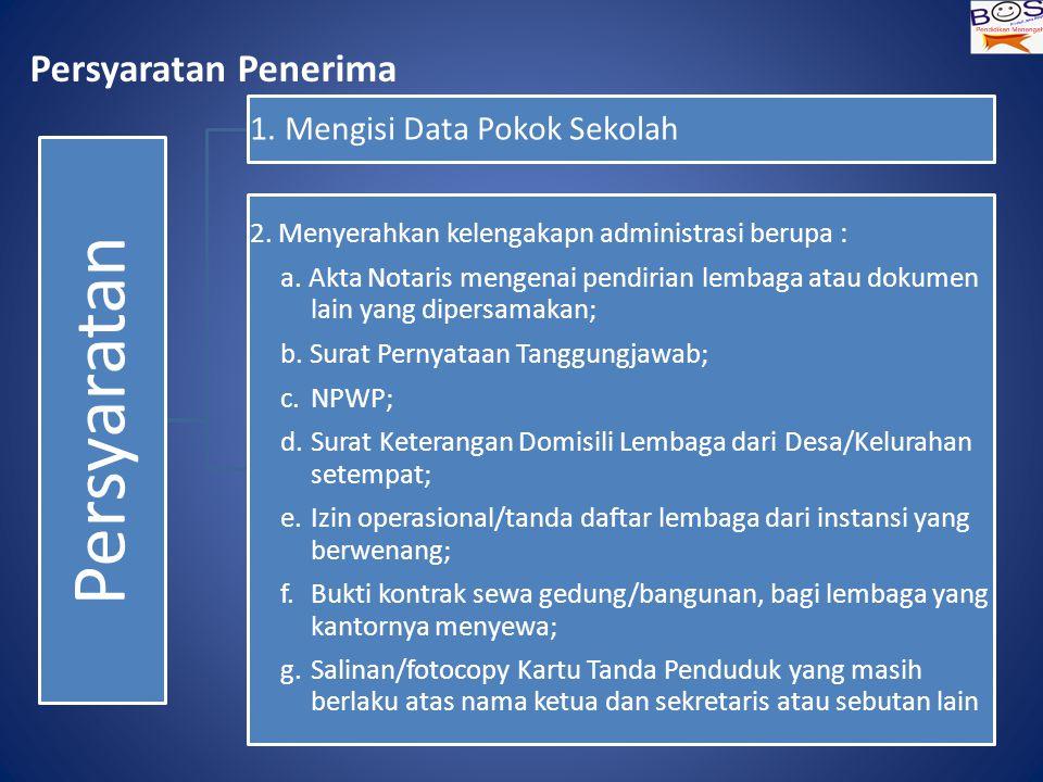 Persyaratan Penerima Persyaratan 1.Mengisi Data Pokok Sekolah 2.
