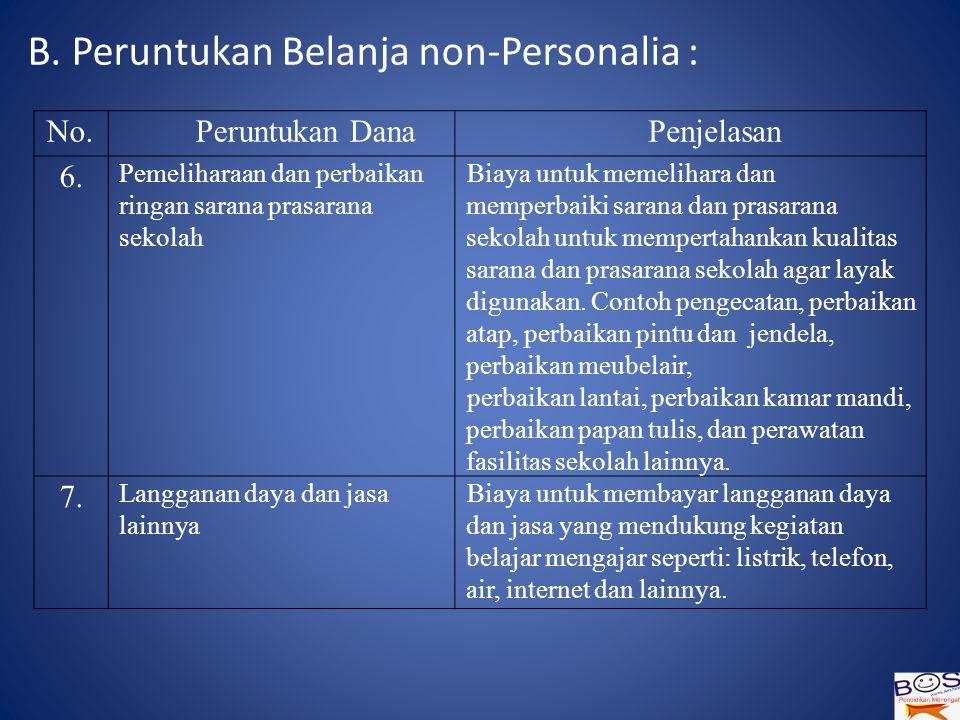 B.Peruntukan Belanja non-Personalia : No.Peruntukan DanaPenjelasan 6.