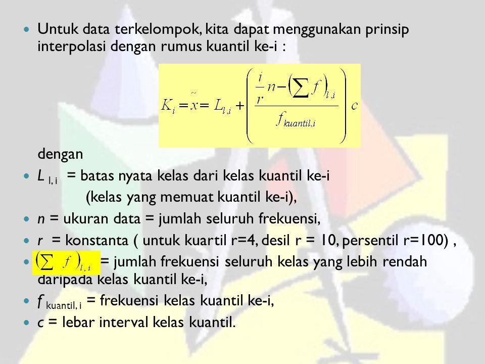 Untuk data terkelompok, kita dapat menggunakan prinsip interpolasi dengan rumus kuantil ke-i : dengan L l, i = batas nyata kelas dari kelas kuantil ke