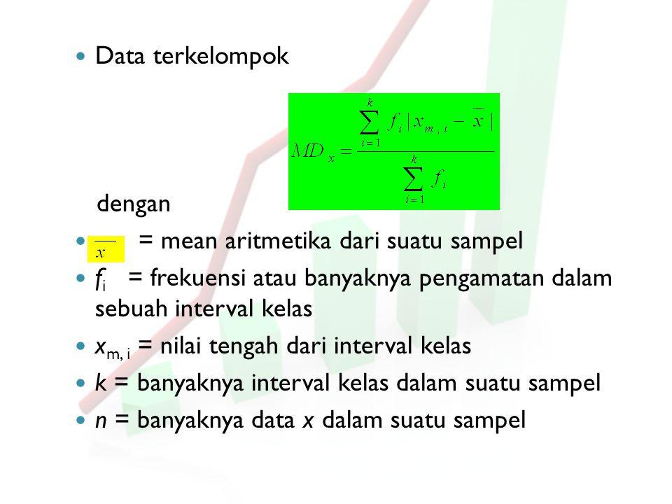 Data terkelompok dengan = mean aritmetika dari suatu sampel f i = frekuensi atau banyaknya pengamatan dalam sebuah interval kelas x m, i = nilai tenga