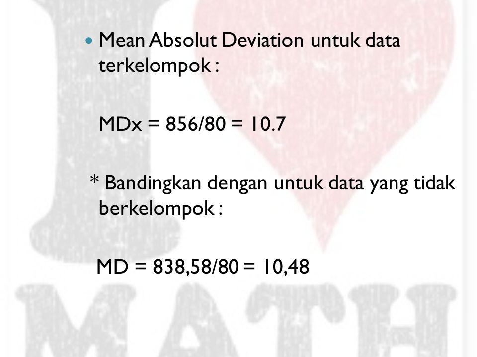 Mean Absolut Deviation untuk data terkelompok : MDx = 856/80 = 10.7 * Bandingkan dengan untuk data yang tidak berkelompok : MD = 838,58/80 = 10,48