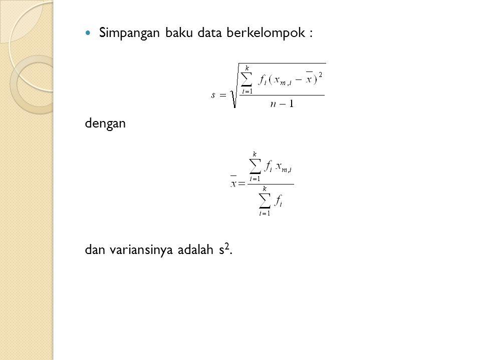 Simpangan baku data berkelompok : dengan dan variansinya adalah s 2.