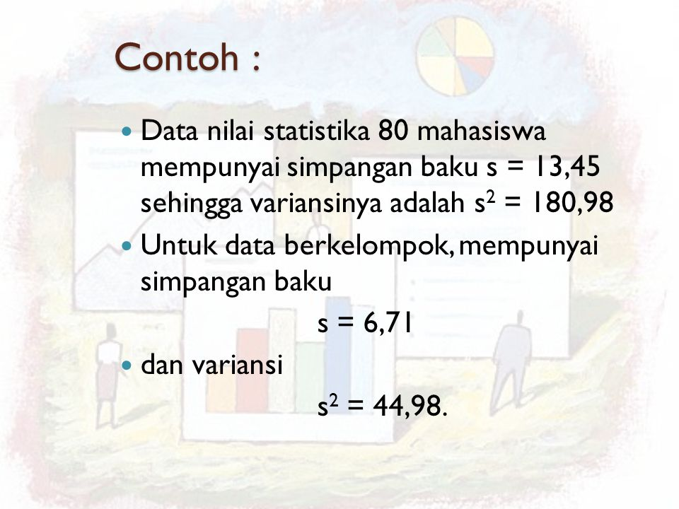 Contoh : Data nilai statistika 80 mahasiswa mempunyai simpangan baku s = 13,45 sehingga variansinya adalah s 2 = 180,98 Untuk data berkelompok, mempun