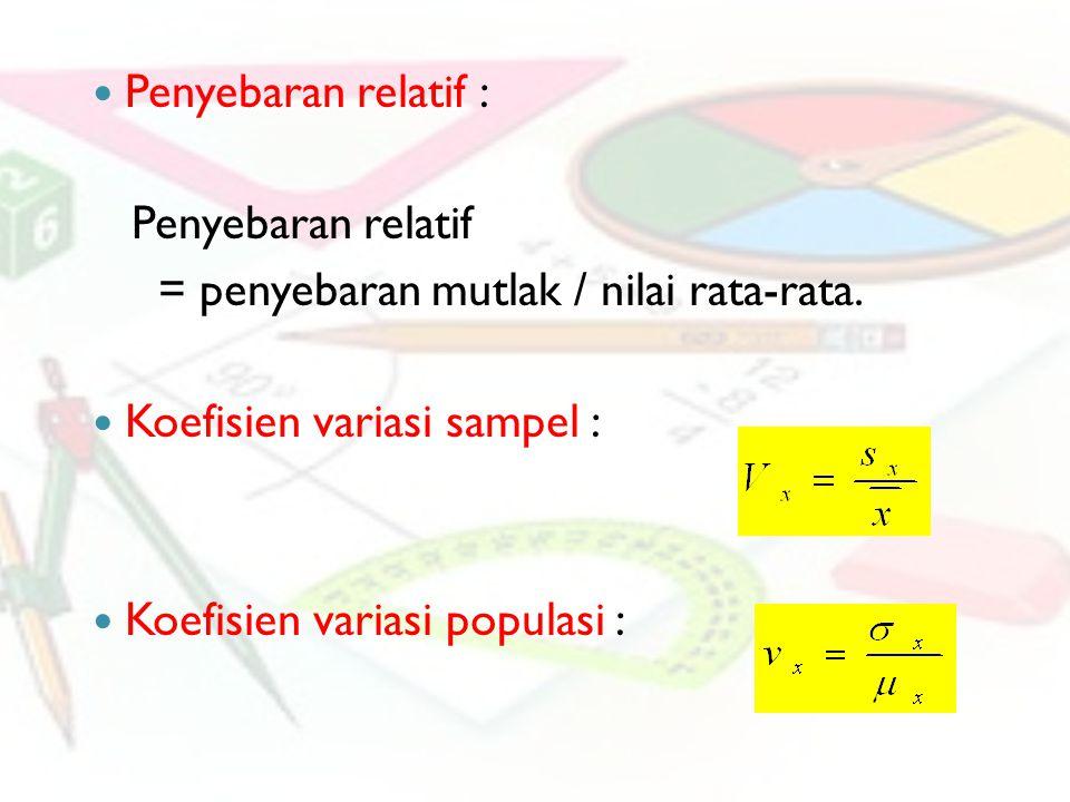 Penyebaran relatif : Penyebaran relatif = penyebaran mutlak / nilai rata-rata. Koefisien variasi sampel : Koefisien variasi populasi :
