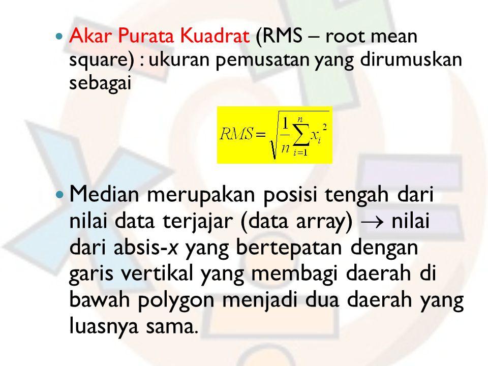 Akar Purata Kuadrat (RMS – root mean square) : ukuran pemusatan yang dirumuskan sebagai Median merupakan posisi tengah dari nilai data terjajar (data