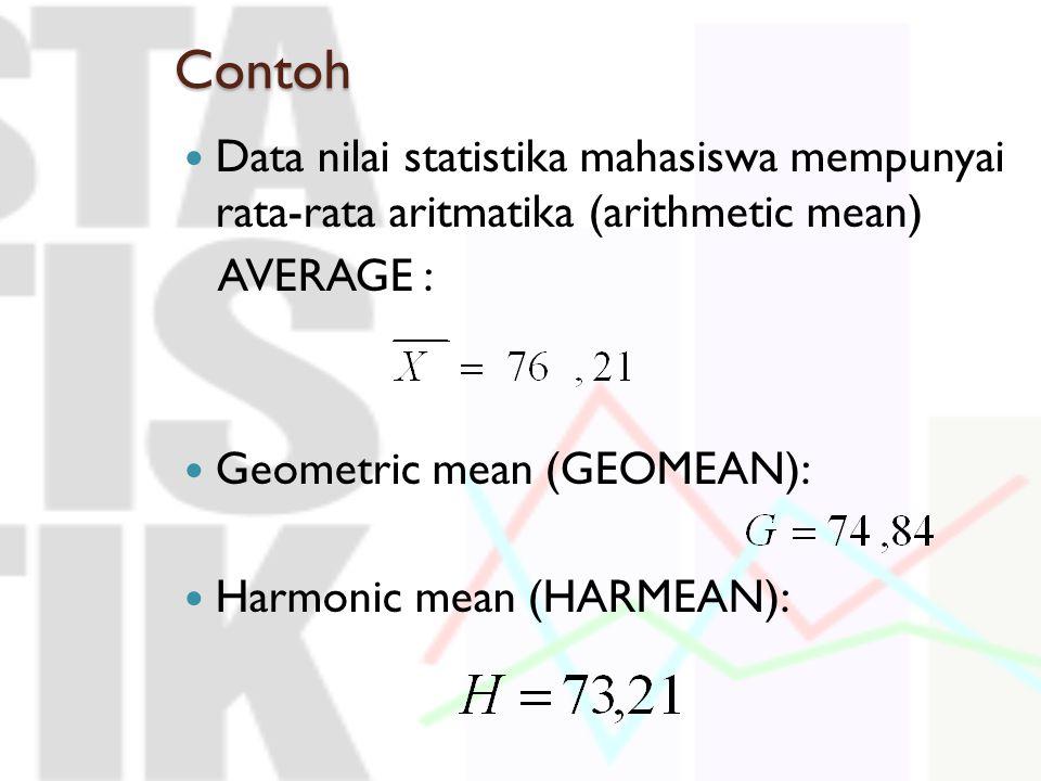 Contoh Data nilai statistika mahasiswa mempunyai rata-rata aritmatika (arithmetic mean) AVERAGE : Geometric mean (GEOMEAN): Harmonic mean (HARMEAN):