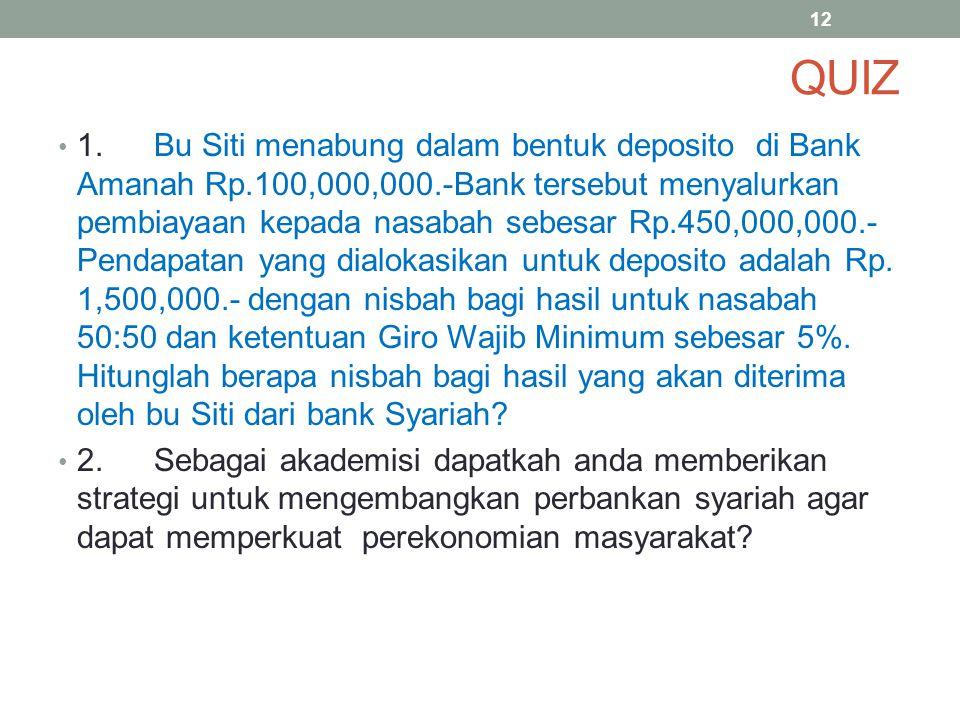 QUIZ 1.Bu Siti menabung dalam bentuk deposito di Bank Amanah Rp.100,000,000.-Bank tersebut menyalurkan pembiayaan kepada nasabah sebesar Rp.450,000,00