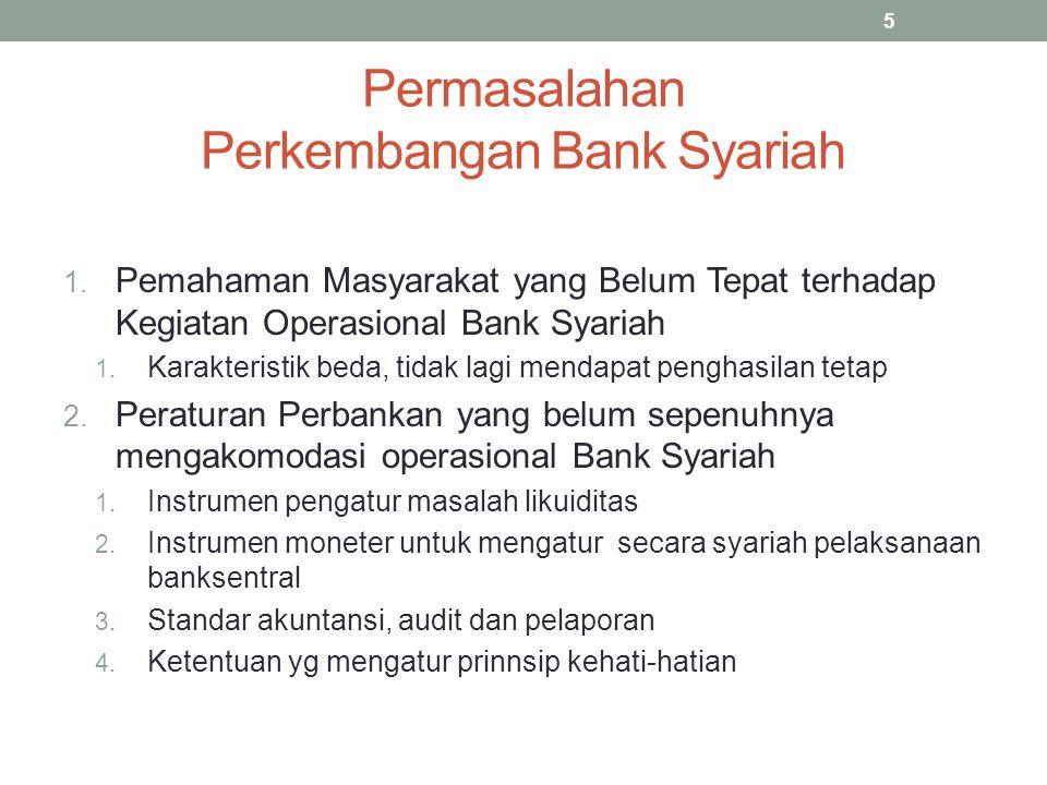 Permasalahan Perkembangan Bank Syariah 1. Pemahaman Masyarakat yang Belum Tepat terhadap Kegiatan Operasional Bank Syariah 1. Karakteristik beda, tida