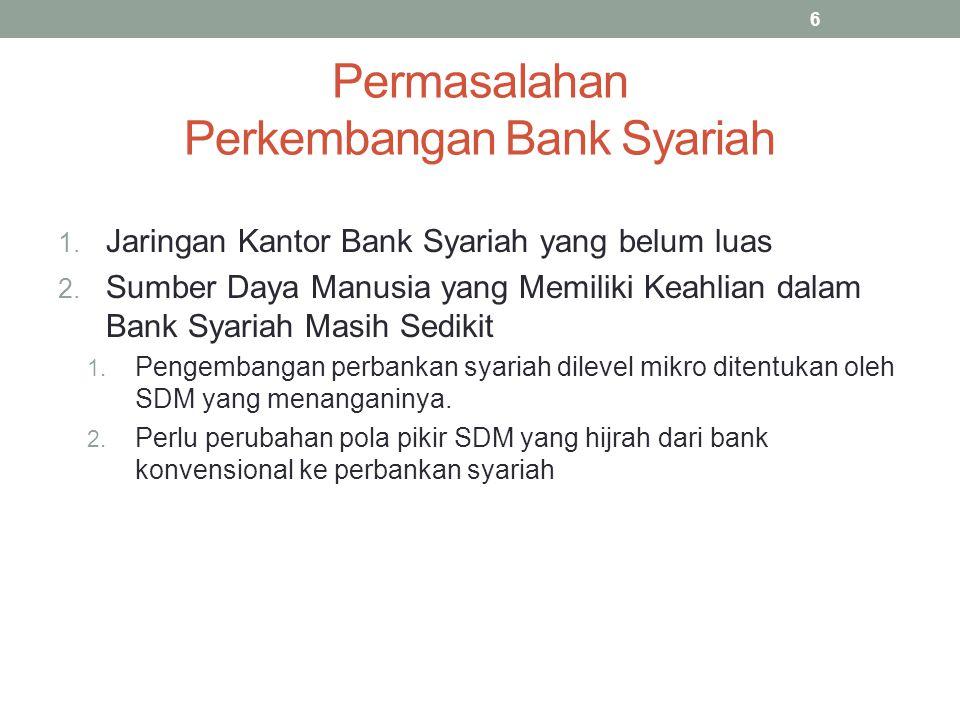 Permasalahan Perkembangan Bank Syariah 1. Jaringan Kantor Bank Syariah yang belum luas 2. Sumber Daya Manusia yang Memiliki Keahlian dalam Bank Syaria