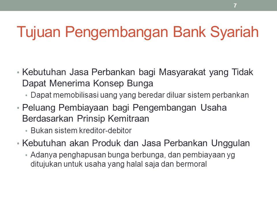 Tujuan Pengembangan Bank Syariah Kebutuhan Jasa Perbankan bagi Masyarakat yang Tidak Dapat Menerima Konsep Bunga Dapat memobilisasi uang yang beredar