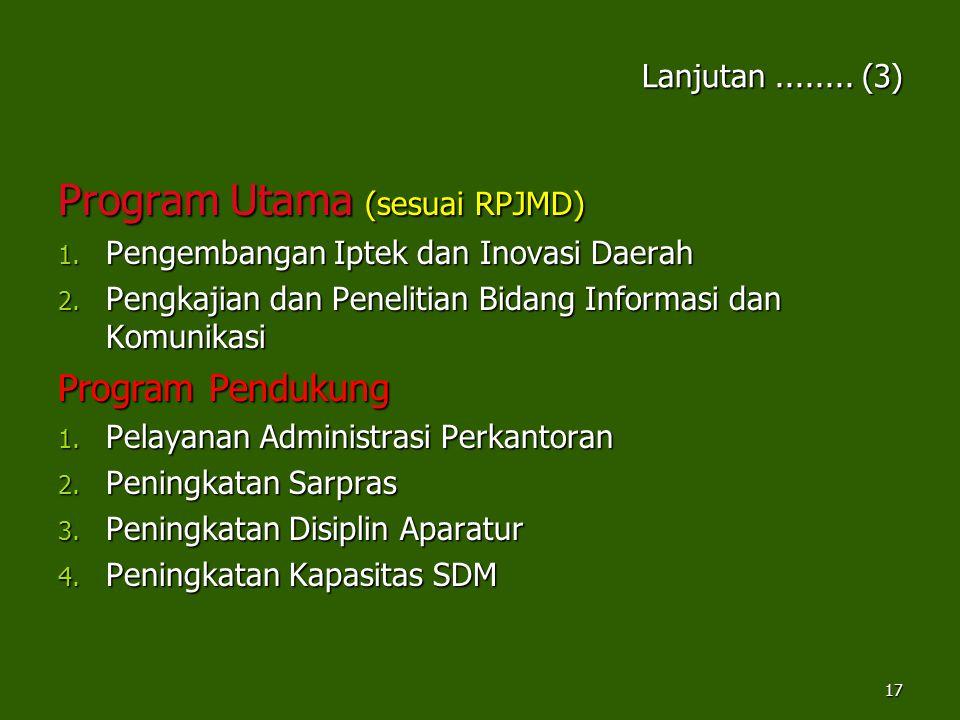 Lanjutan........ (3) Program Utama (sesuai RPJMD) 1. Pengembangan Iptek dan Inovasi Daerah 2. Pengkajian dan Penelitian Bidang Informasi dan Komunikas