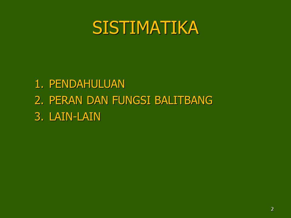 SISTIMATIKA 1.PENDAHULUAN 2.PERAN DAN FUNGSI BALITBANG 3.LAIN-LAIN 2