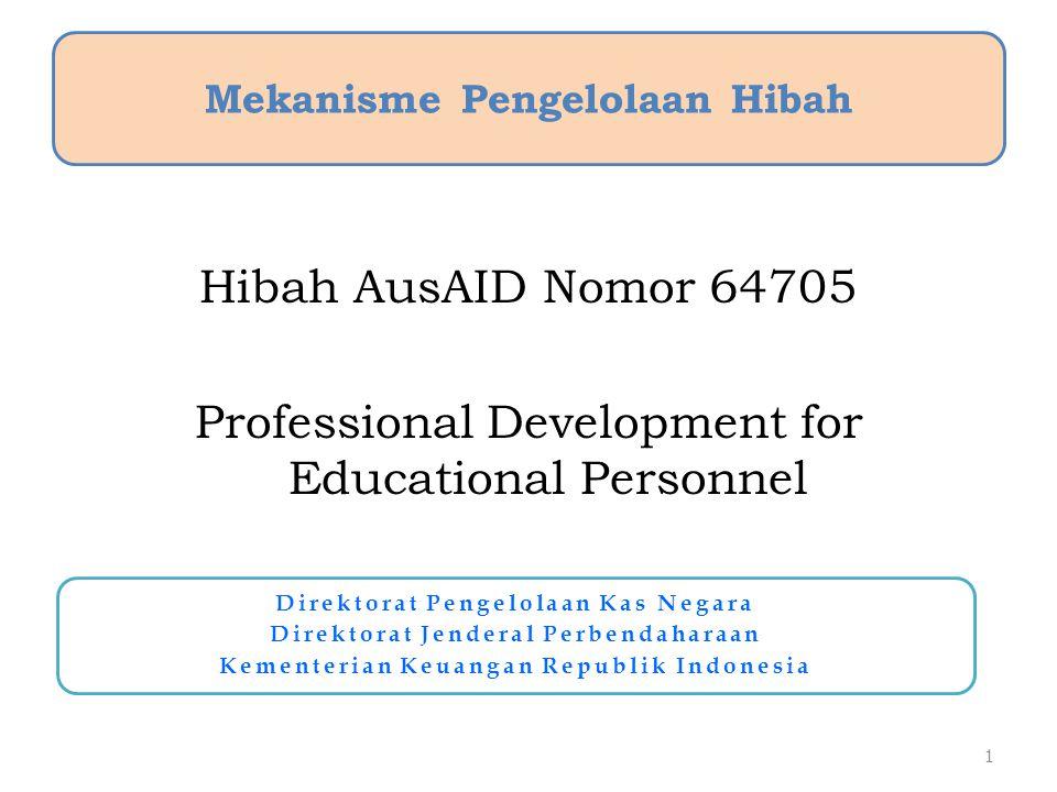 Hibah AusAID Nomor 64705 Professional Development for Educational Personnel 1 Mekanisme Pengelolaan Hibah Direktorat Pengelolaan Kas Negara Direktorat