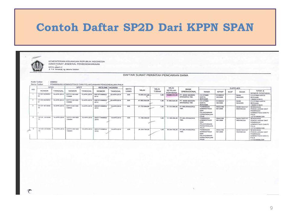 Contoh Daftar SP2D Dari KPPN SPAN 9