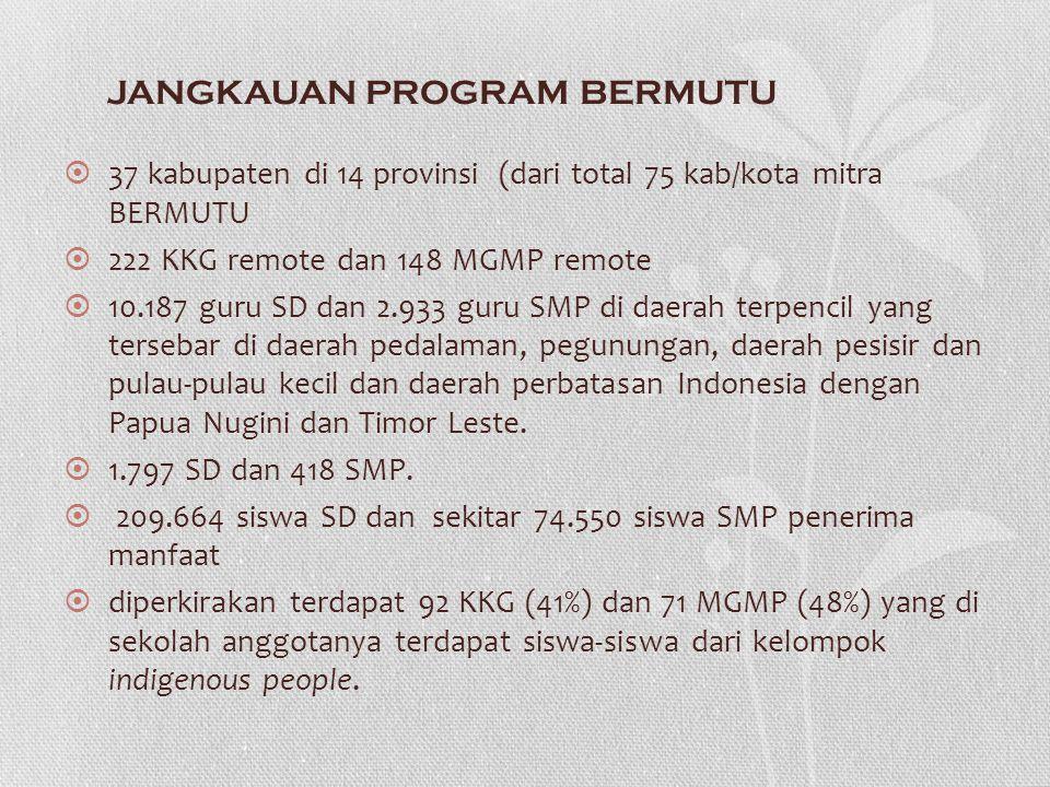 JANGKAUAN PROGRAM BERMUTU  37 kabupaten di 14 provinsi (dari total 75 kab/kota mitra BERMUTU  222 KKG remote dan 148 MGMP remote  10.187 guru SD da