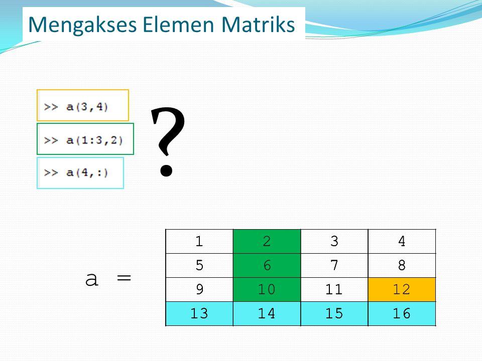 Mengakses Elemen Matriks 1234 5678 9101112 13141516 .