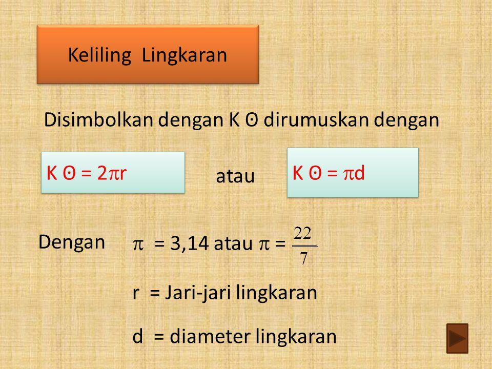 Disimbolkan dengan K ʘ dirumuskan dengan atau Keliling Lingkaran Keliling Lingkaran Dengan  = 3,14 atau  = r = Jari-jari lingkaran K ʘ = 2  r K ʘ =